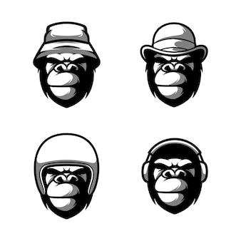 Vecteur de conception de mascotte de singe