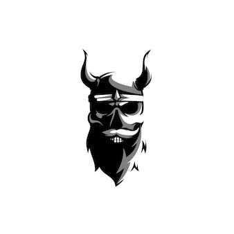 Vecteur de conception de mascotte squelette viking