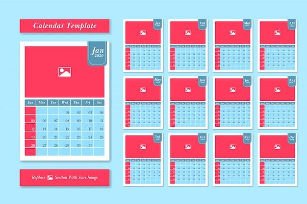 Vecteur de conception de modèle de calendrier 2020 dans un style de couleur mignon pastel