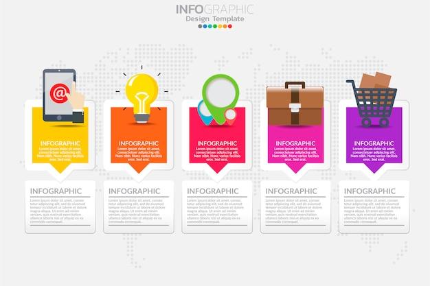 Vecteur de conception de modèle de cinq étapes timeline infographie