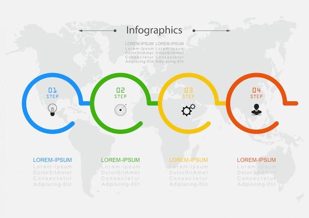 Vecteur de conception de modèle infographique étapes ou processus de concept d'affaires
