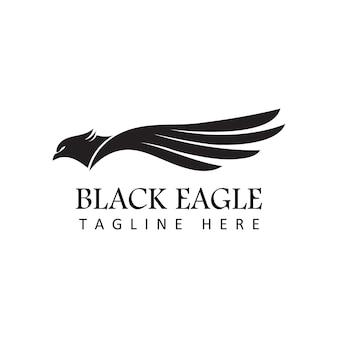 Vecteur de conception de modèle de logo aigle noir en fond blanc isolé