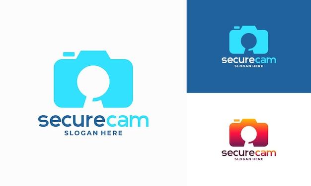 Vecteur de conception de modèle de logo de caméra de vidéosurveillance, symbole d'icône de modèle de logo de caméra sécurisée