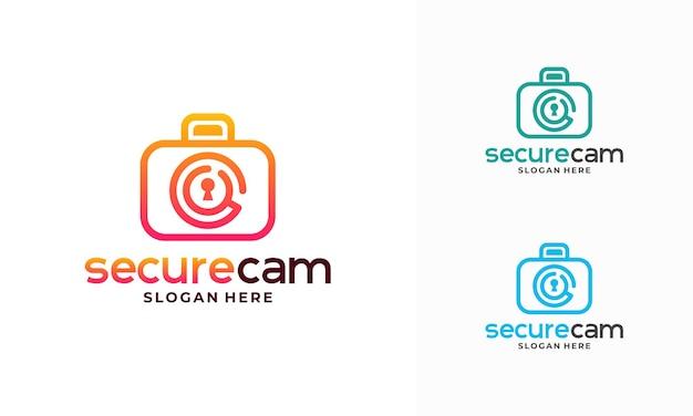 Vecteur de conception de modèle de logo de caméra de vidéosurveillance, symbole d'icône de modèle de logo secure cam