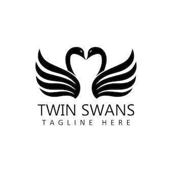 Vecteur de conception de modèle de logo de cygnes jumeaux en arrière-plan isolé