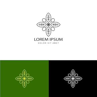 Vecteur de conception de modèle de logo feuille abstraite