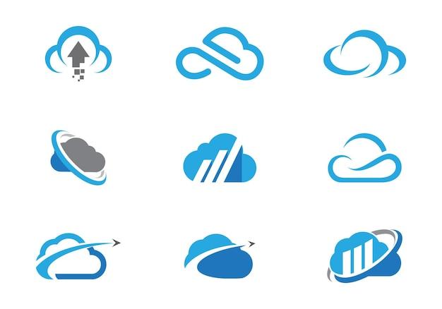 Vecteur de conception de modèle de logo de technologie cloud