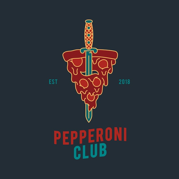 Vecteur de conception de pizza au pepperoni