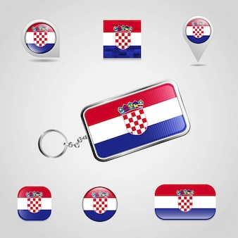 Vecteur de conception de porte-clés drapeau