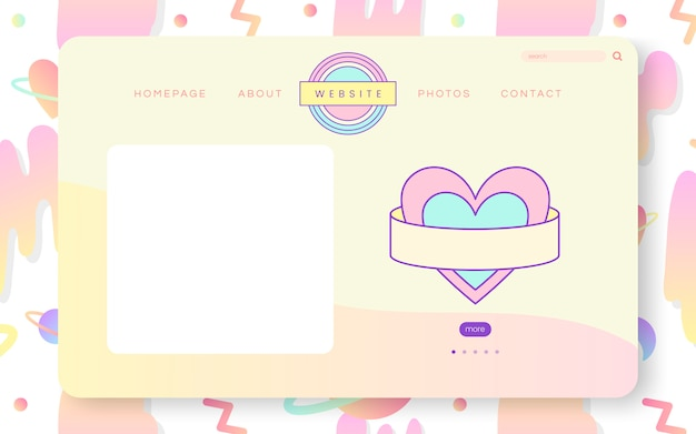 Vecteur de conception de site web pastel girly