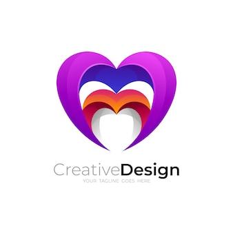 Vecteur de conception de soins d'amour, logo social avec icône de coeur