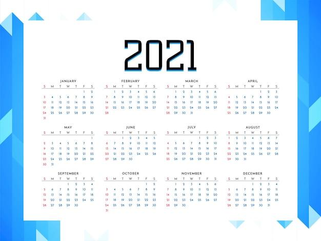 Vecteur de conception de style entreprise calendrier 2021 ans