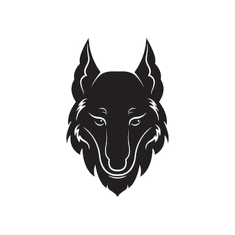 Vecteur de conception de tête de loup sur fond blanc. illustration vectorielle en couches modifiable facile. animaux sauvages.