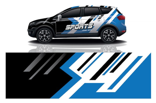 Vecteur de conception wrap decal voiture sport