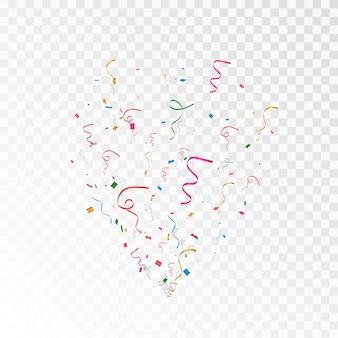 Vecteur de confettis png explosion de confettis multicolores clap confetti streamer png