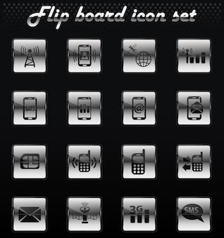 Le vecteur de connexion mobile retourne les icônes mécaniques pour la conception de l'interface utilisateur