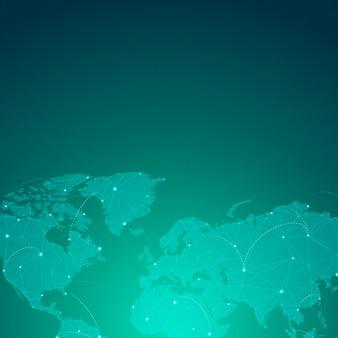 Vecteur de connexion mondiale fond vert illustration