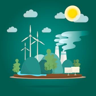 Vecteur de conservation de l'environnement effet de réchauffement global