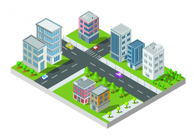 Vecteur de construction de ville isométrique. la ville sur la cour avec route et arbres. pont sur la rivière. ville intelligente et parc public. bâtiment 3d, voitures, capital, concept de bureau et métropole de vecteur.