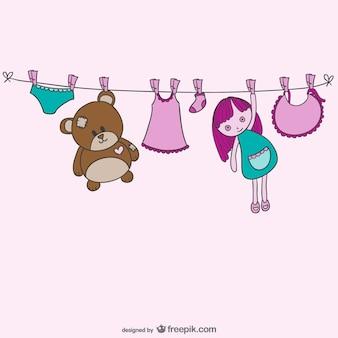 Vecteur de corde à linge de bébé