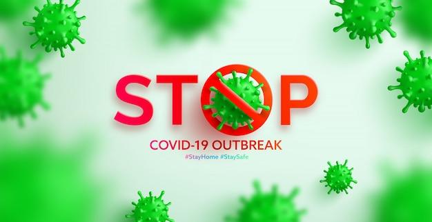 Vecteur de coronavirus 2019-ncov et fond de virus avec des cellules malades. arrêtez l'épidémie du virus corona covid-19, restez à la maison et restez en sécurité