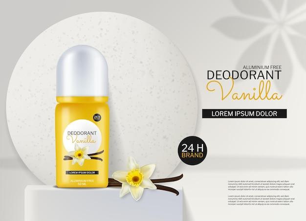 Vecteur de cosmétiques déodorant réaliste. placement de produit déco parfum vanille