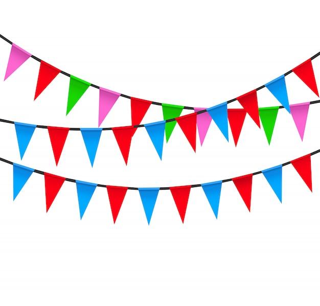 Vecteur de couleur des drapeaux de fête.