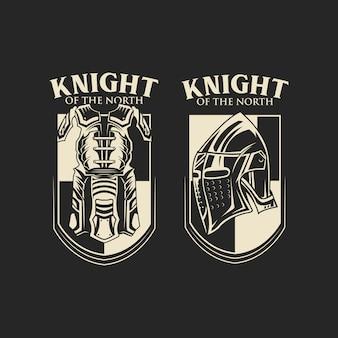 Vecteur de couleur monochrome emblème chevalier