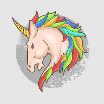 Vecteur de couleur unie tête licorne