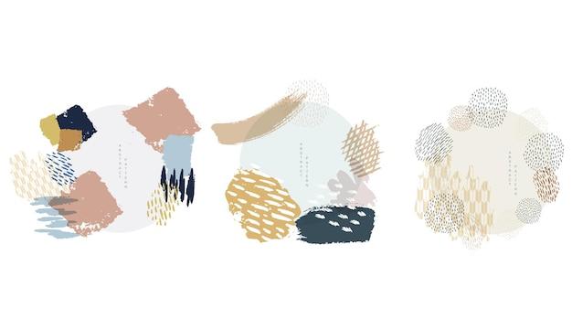 Vecteur de coup de pinceau avec objet d'art abstrait. texture de peinture avec icône et symbole japonais.