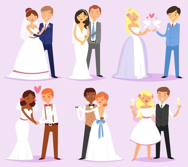 Vecteur de couple de mariage mariée mariée ou fiancée et époux ou fiancé caractères sur jeu d'illustration de mer d'aimer l'homme et la femme en robe de mariée sur la célébration du mariage isolé sur fond
