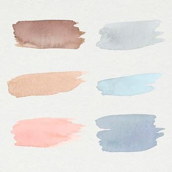 Vecteur de coups de pinceau aquarelle coloré