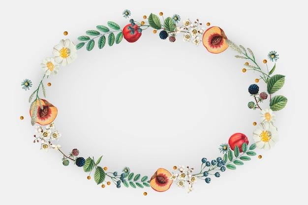 Vecteur de couronne florale sur motif floral d'été