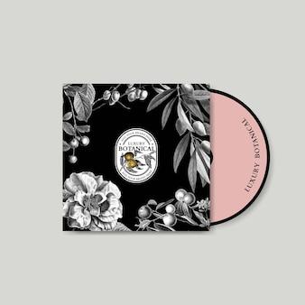 Vecteur de couverture de cd floral dans un style vintage