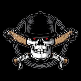 Vecteur de crâne hardcore avec chaîne