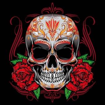 Vecteur de crâne de sucre avec ornement de roses
