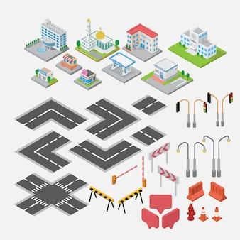 Vecteur de créateur d'élément de carte ville isométrique