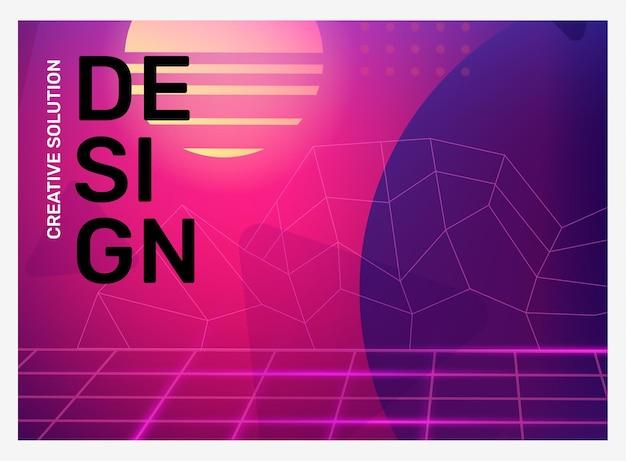Vecteur créatif illustration rétro rose et violet vif avec résumé d'entreprise de brouillard en forme de grille néon