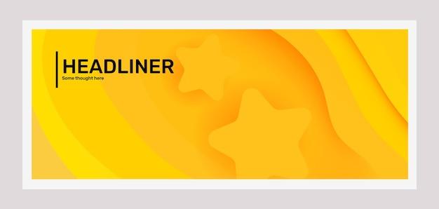 Vecteur, créatif, jaune vif, horizontal, papier, coupé, style, illustration, abstraction, dans, cadre, à, star