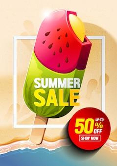 Vecteur de crème glacée vente d'été