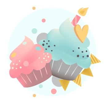 Vecteur de cupcake coloré avec une bougie
