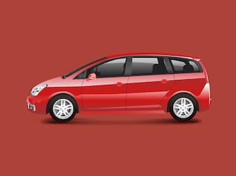 Vecteur d'automobile monospace rouge MPV