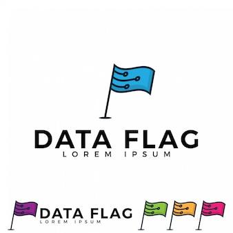 Vecteur d'icône de drapeau de données.
