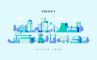 Vecteur de concept d'économie d'énergie en bleu