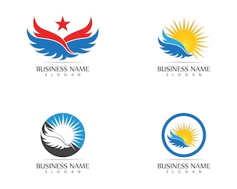 Vecteur de conception d'ailes étoiles icône logo