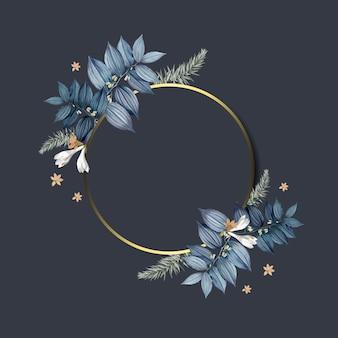 Vecteur de conception de cadre floral vide