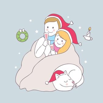 Vecteur de dessin animé mignon amant et chien de Noël.