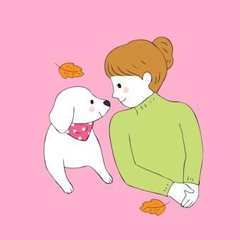 Vecteur de dessin animé mignon chien et femme automne.