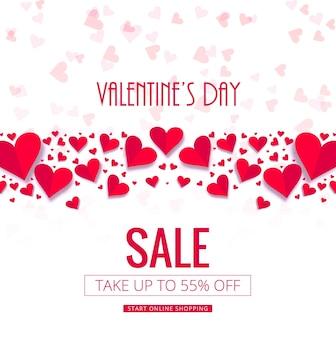 Vecteur de fond moderne vente Saint-Valentin