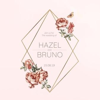 Vecteur de maquette invitation mariage floral